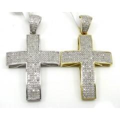 10k Yellow And White Gold Diamond Cross 0.84ct