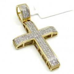 10k Yellow Gold Medium Cross Pendant 0.53ct