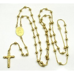 14k Yellow Gold Smooth Bead Jesus Cross Rosary 36 Inch 4mm
