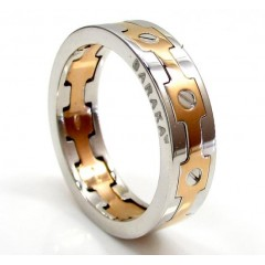 Mens Baraka 18k White & Rose Gold Screw Ring
