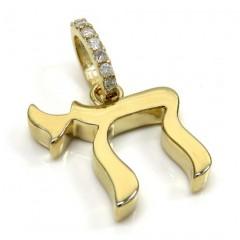 14k Yellow Gold 3d Solid Jewish Chai Pendant .09ct