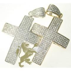 1.00ct Unisex 10k White Gold round Diamond Pave Cross