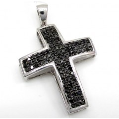 14k White Gold Black Diam...
