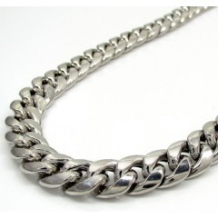 10k White Gold Thick Hollow Puffed Miami Chain 24-30 Inch 9mm