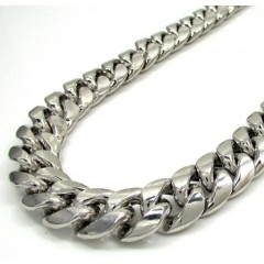 10k White Gold Super Thick Hollow Puffed Miami Chain 26-30 Inch 13mm