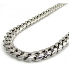10k White Gold Hollow Puffed Miami Chain 24-30 Inch 6.5mm