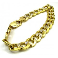 10k Yellow Gold Thick Diamond Cut Two Tone Cuban Bracelet 9 Inch 11mm