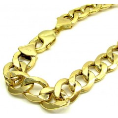 10k Yellow Gold Thick Hollow Cuban Bracelet 9.25 Inch 11mm
