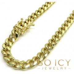 10k Yellow Gold Hollow Miami Bracelet 8.50 Inch 6mm