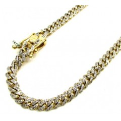 10k Solid Yellow Gold Skinny Diamond Miami Bracelet 8.5 Inch 5mm 2.01ct