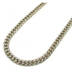 10k Solid Yellow Gold Skinny Diamond Miami Chain 24-26 Inch 5mm 5.52ct