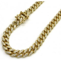 10k Solid Yellow Gold Diamond Miami Chain 20-26 Inch 6mm 6.40ct