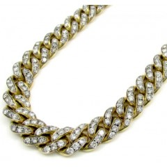 10k Solid Yellow Gold Super Thick Diamond Miami Chain 30 Inch 11.5mm 40.01ct