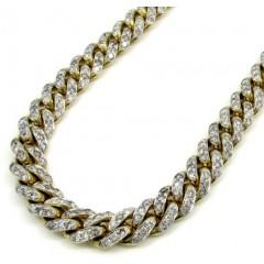 10k Solid Yellow Gold Xl Diamond Miami Chain 26 Inch 10mm 24.68ct