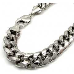 10k White Gold Large Hollow Puffed Miami Bracelet 9 Inch 11mm