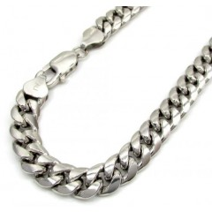 10k White Gold Medium Hollow Puffed Miami Bracelet 9 Inch 7.5mm