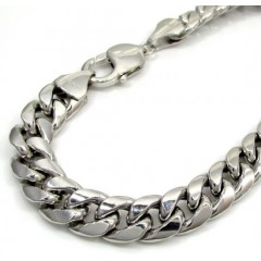 10k White Gold Large Hollow Puffed Miami Bracelet 8.75 Inch 9mm