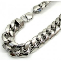 10k White Gold Super Thick Hollow Puffed Miami Bracelet 9.25 Inch 13mm