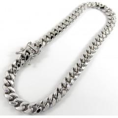 10k White Gold Medium Hollow Puffed Miami Bracelet 9 Inch 6.5mm