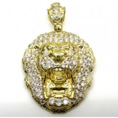 10k Yellow Gold Large Cz Lion Head Pendant 1.50ct