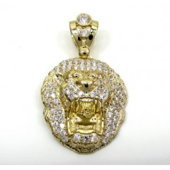 10k Yellow Gold Medium Cz Lion Head Pendant 1.25ct