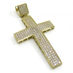 10k Yellow Gold Medium Cz Cross Pendant 1.20ct