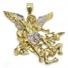 10k Yellow Gold Two Tone Super Xl Angel Vs Demon Pendant