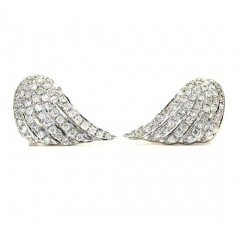 14k White And Yellow Gold Diamond Wings Earrings 0.90ct