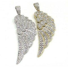 14k Unisex White And Yellow Gold Medium Diamond Angel Wing Pendant 2.00ct
