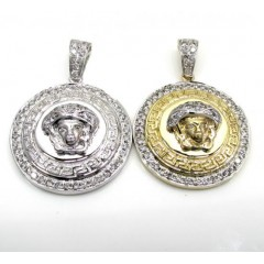 10k Yellow And White Gold Halo Medusa Head Diamond Pendant 0.98ct
