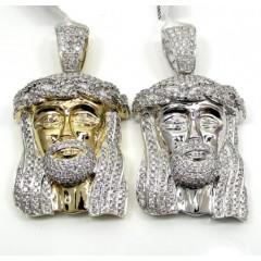 14k Yellow And White Gold Diamond Jesus Piece Pendant 5.25ct