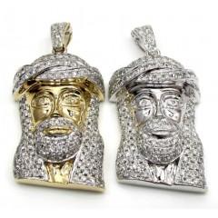 14k Yellow And White Gold Diamond Jesus Face Pendant 2.27ct