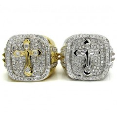 14k Yellow And White Gold Diamond Cross Ring 1.32ct