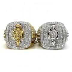 14k Yellow And White Gold Diamond Baby Cherub Ring 1.10ct