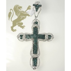 3.00ct 14k White Gold blue & White Diamond Excalibur Cross