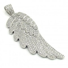 14k Unisex White Gold Super Xl Diamond Angel Wing Pendant 7.70ct