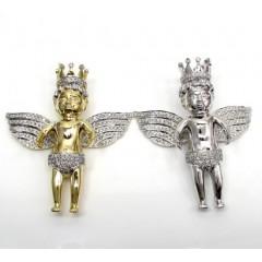 10k Yellow And White Gold Xl Diamond Crowned Baby Cherub Pendant 2.54ct
