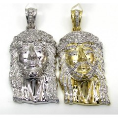 10k Yellow And White Gold Mini Iced Out Jesus Pendant 0.70ct