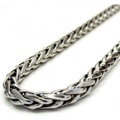 14k White Gold Large Hollow Wheat Franco Chain 28-30 Inch 4.5mm