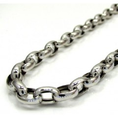 14k White Gold Hollow Oval Rolo Chain 20-22 Inch 5.5mm