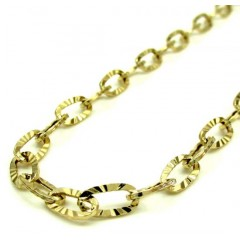14k Yellow Gold Fancy Hollow Diamond Cut Oval Box Chain 16-20 Inch 4.5mm