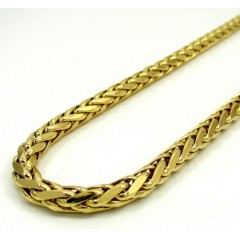 14k Yellow Gold Large Hollow Wheat Franco Chain 22-30 Inch 5mm