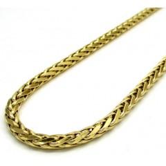 14k Yellow Gold Medium Hollow Wheat Franco Chain 16-30 Inch 4mm