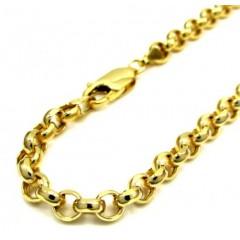 10k Yellow Gold Hollow Rolo Bracelet 9 Inch 5.5mm