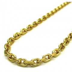 10k Yellow Gold Hollow Cable Chain 26-36 Inch 4.3mm