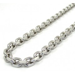 14k White Gold Large Solid Cable Chain 20-22 Inch 5.2mm