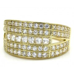 Mens 10k Yellow Gold Fully Iced Cz Ring 1.00ct