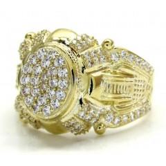 10k Yellow Gold Iced Fancy Caesar Ring 1.00ct