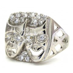 10k White Gold Cz Laugh Now Cry Later Ring 0.60ct