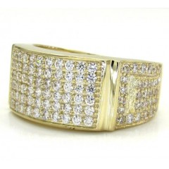 Mens 10k Yellow Gold Six Row Fully Iced Cz Ring 1.25ct